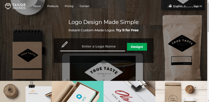 Website Tailor Brands simplifica tu logo