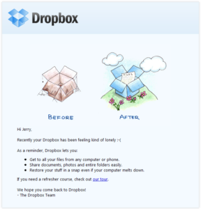 Dropbox ejemplos de marketing directo